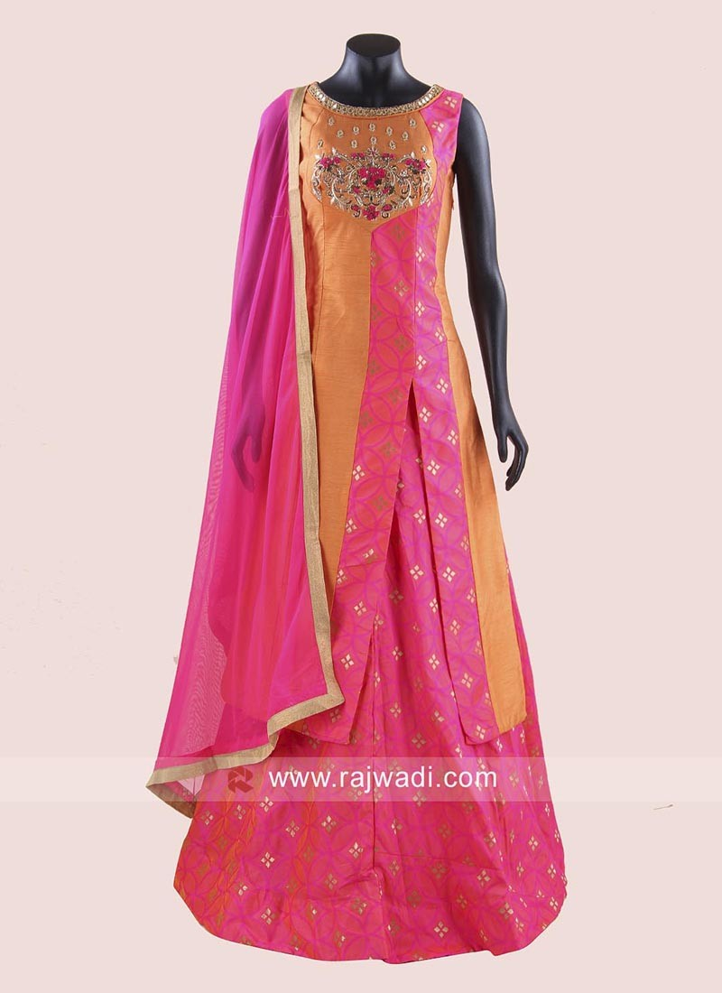 Indo Western Banarasi Silk Lehenga Set