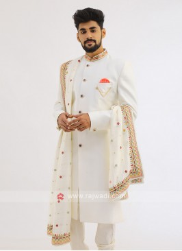 Indo western In Off White