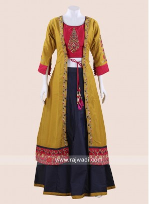 Indo Western Jacket Style Embroidered Choli Suit