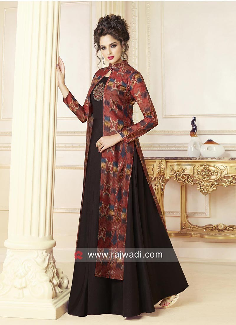 Indo Western Jacket Style Printed Gown