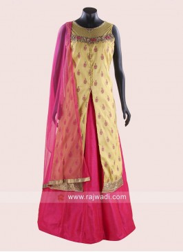 Indo Western Readymade Raw Silk Lehenga Choli