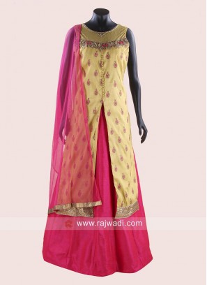 Indo Western Readymade Raw Silk Lehenga Choli