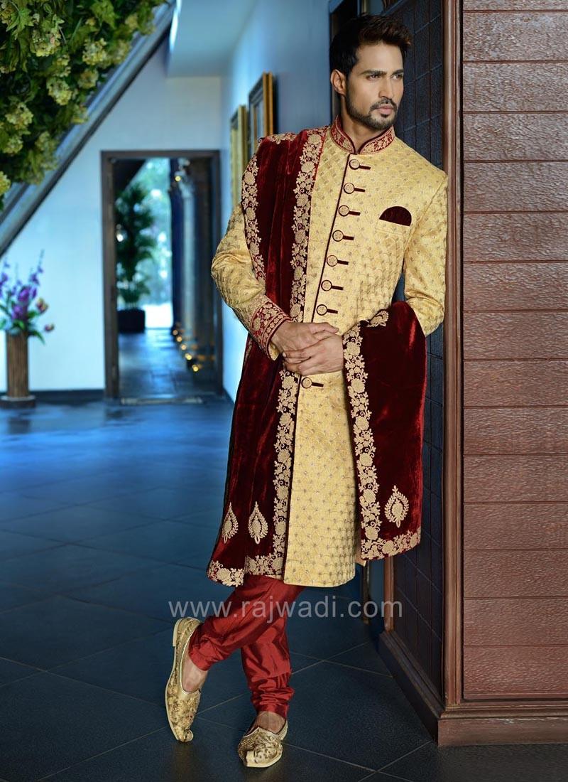Indo Western Sherwani in Golden Color