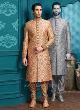 Indo Western Sherwani in Peach Color