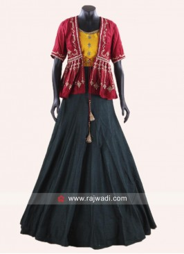 Indo Western Style Lehenga Set with Koti