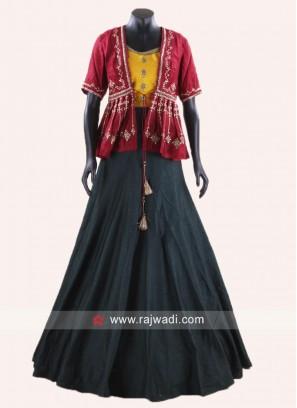 Indo Western Style Lehenga Set with Koti