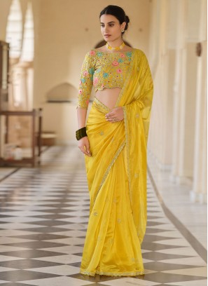 Innovative Organza Yellow Sequins Trendy Saree