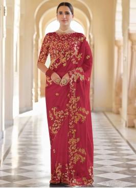Innovative Red Sequins Organza Classic Designer Saree