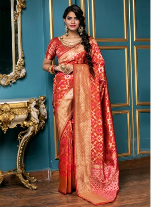Integral Weaving Red Traditional Saree