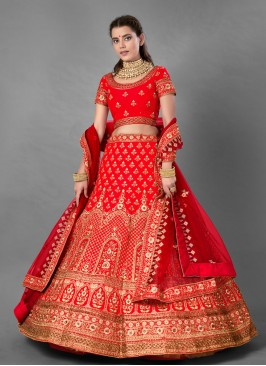 Intricate Satin Embroidered Red A Line Lehenga Choli