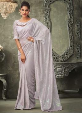 Intricate Sequins Lavender Classic Saree