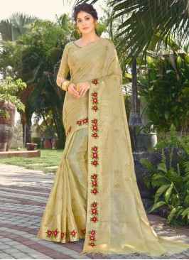 Intriguing Green Embroidered Traditional Designer Saree