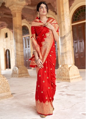 Invaluable Red Festival Designer Traditional Saree