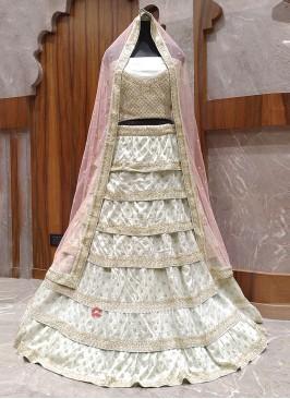 Ivory color layer bridal lehenga choli