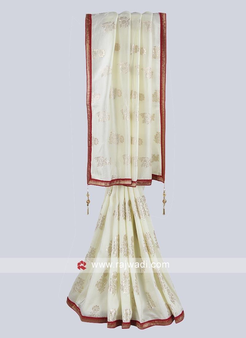 Ivory color silk saree