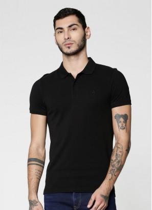 JACK & JONES Black Polo Neck T-Shirt
