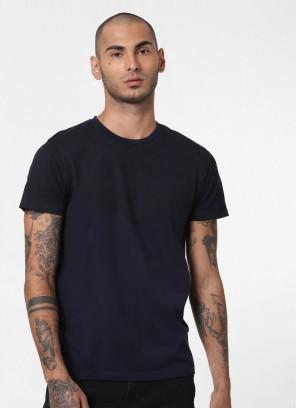 Jack & Jones Navy Blue Baroque Print Crew Neck T-Shirt