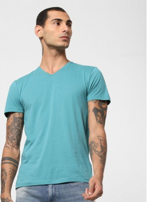 Jack & Jones Turquoise V Neck T-Shirt