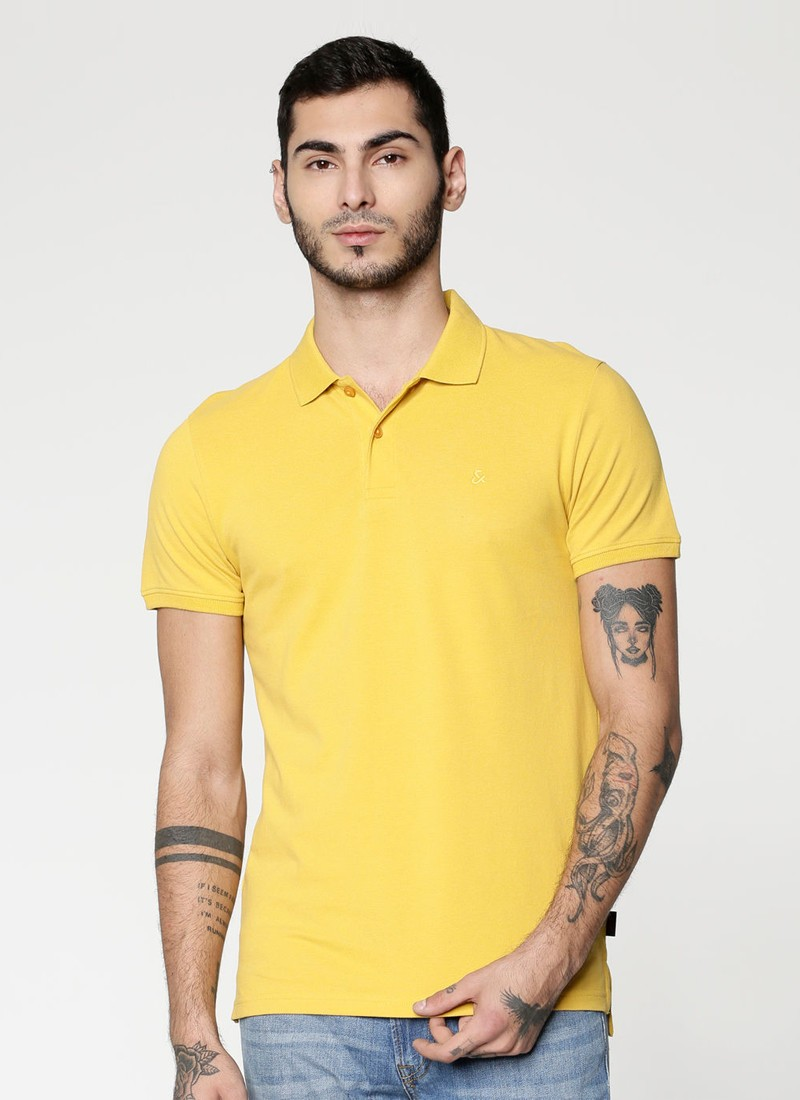 Jack & Jones Yellow Polo Neck T-Shirt
