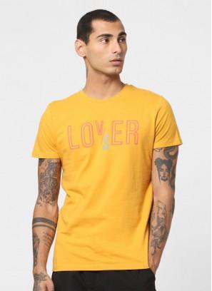 Jack & Jones Yellow Text Print Crew Neck T-Shirt