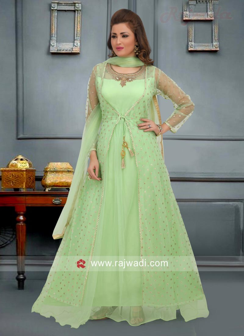 Jacket Style Anarkali Dress in Sea Green