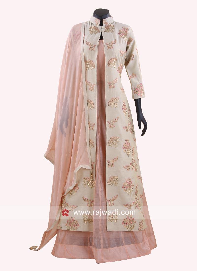 Jacket Style Anarkali Dress with Zari Work