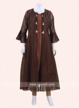 Jacket Style Brown Kurti