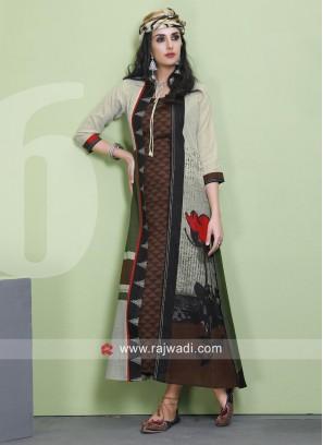 Jacket Style Cotton Crepe Silk Kurti