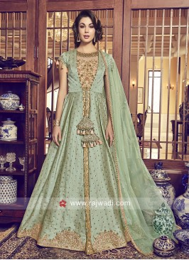 Jacket Style Embroidered Salwar Kameez for Eid