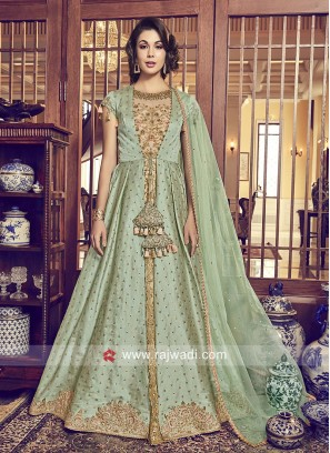 Jacket Style Embroidered Salwar Kameez