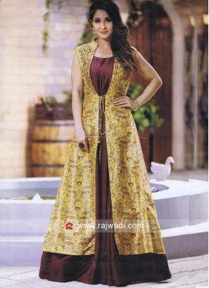 Jacket Style Full Length Silk Kurti