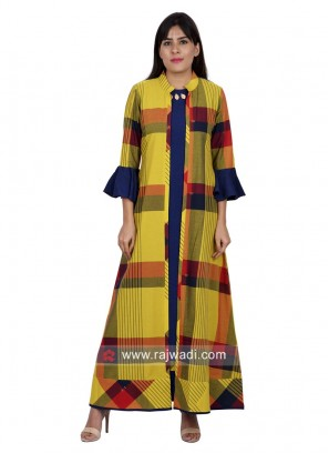 Jacket Style Long Checks Kurti