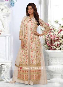 Jacket Style Multi Slit Cream Salwar Suit