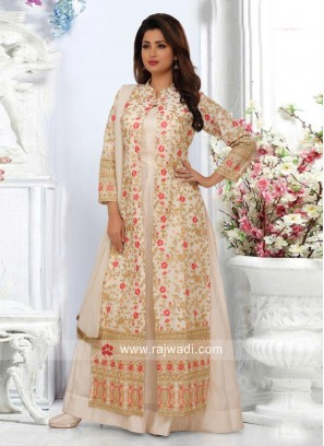 Jacket Style Multi Slit Cream Salwar Suit