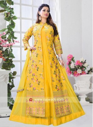 Jacket Style Multi Slit Salwar Suit in Yellow