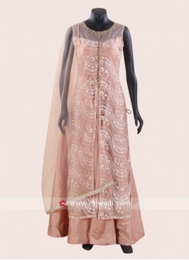Jacket Style Peach Anarkali Dress