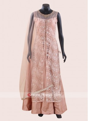 Jacket Style Peach Anarkali Dress