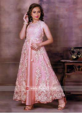 Jacket Style Peach Gown for Girls