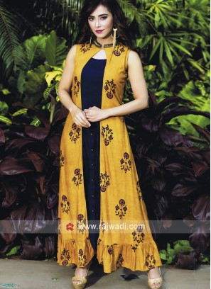 Jacket Style Printed Long Kurti