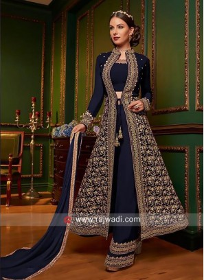 Jacket Style Salwar Kameez in Navy Blue
