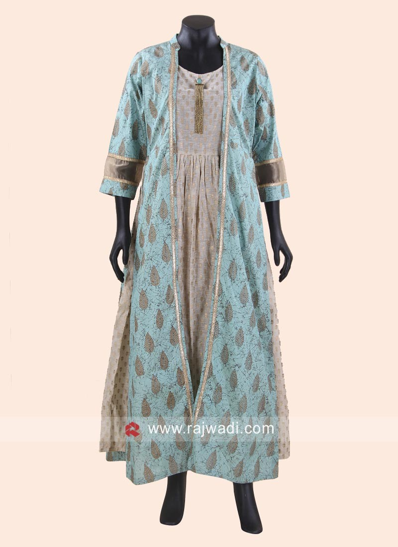 Jacket Style Sea Green Long Kurti