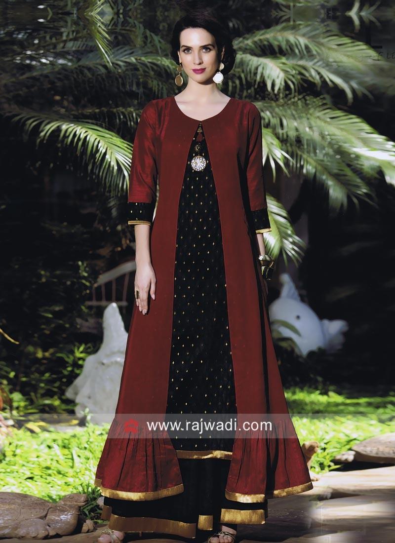 Jacket Style Soft Silk Kurti with Lace Border