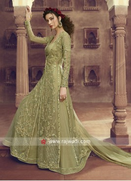 Jacket Style Unstitched Anarkali Suit
