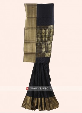 Jacquard Crepe Silk Saree in Black
