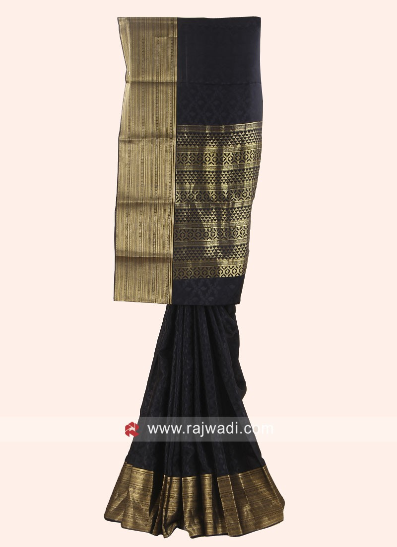 Jacquard Crepe Silk Saree in Black