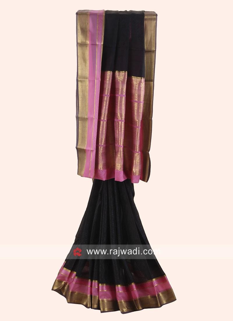 Jacquard Crepe Silk Wedding Saree