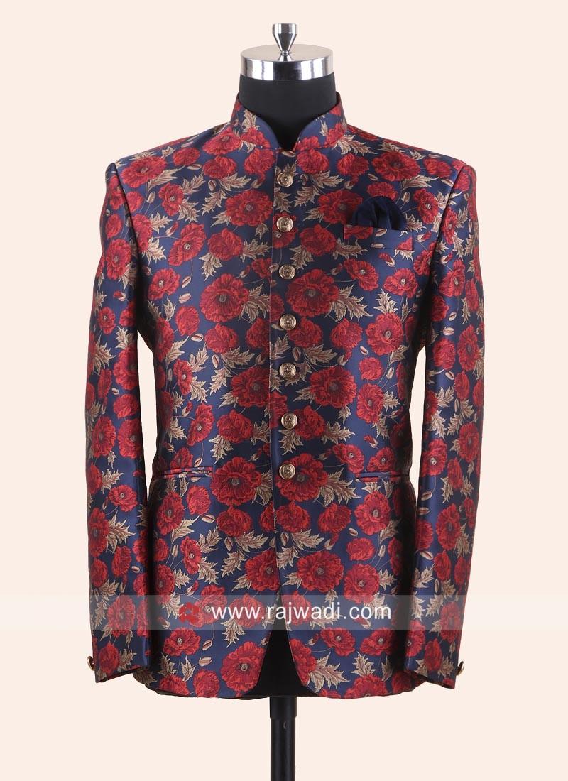 Jacquard Fabric Flower Print Jodhpuri Suit