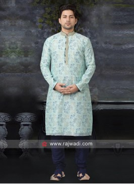Art Silk Fabric Kurta Pajama In Light Cyan