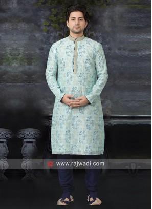 Art Silk Fabric Kurta Pajama In Light Cyan
