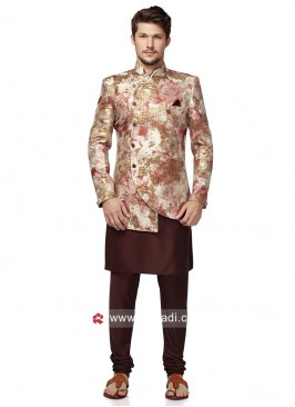 Stylish Cream and Brown Color Indo Western